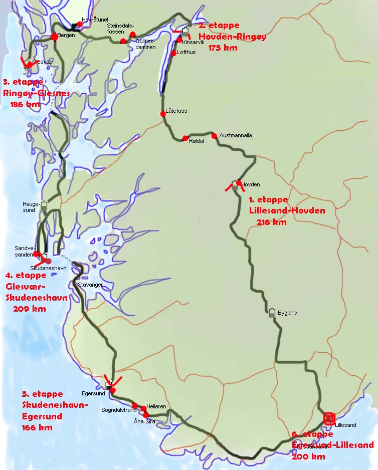 Kart med reiserute for bilferie på søndre Vestlandet