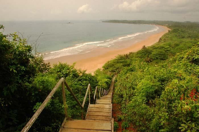 Utsikt mot Busua i Ghana