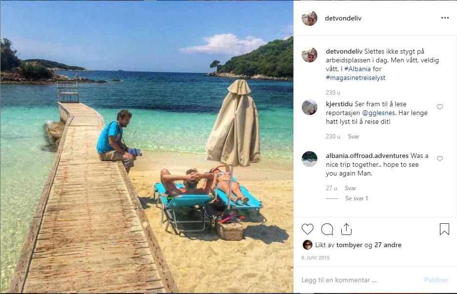 Skjermdump fra Instagram som viser bloggeren ved Ksamil-stranda