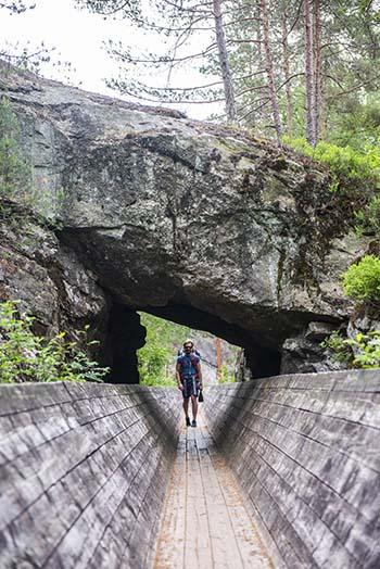 kort tunnel på tømmerrenna i Vennesla