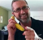 Man talking into a banana