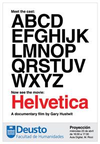Poster de la proyección del documental 'Helvetica'