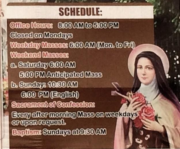 Mass Schedule at St. Therese of the Child Jesus, Lipa, Batangas