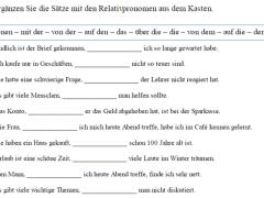 dftzguoh - Ergänzen Sie die Sätze mit den Relativpronomen aus dem Kasten