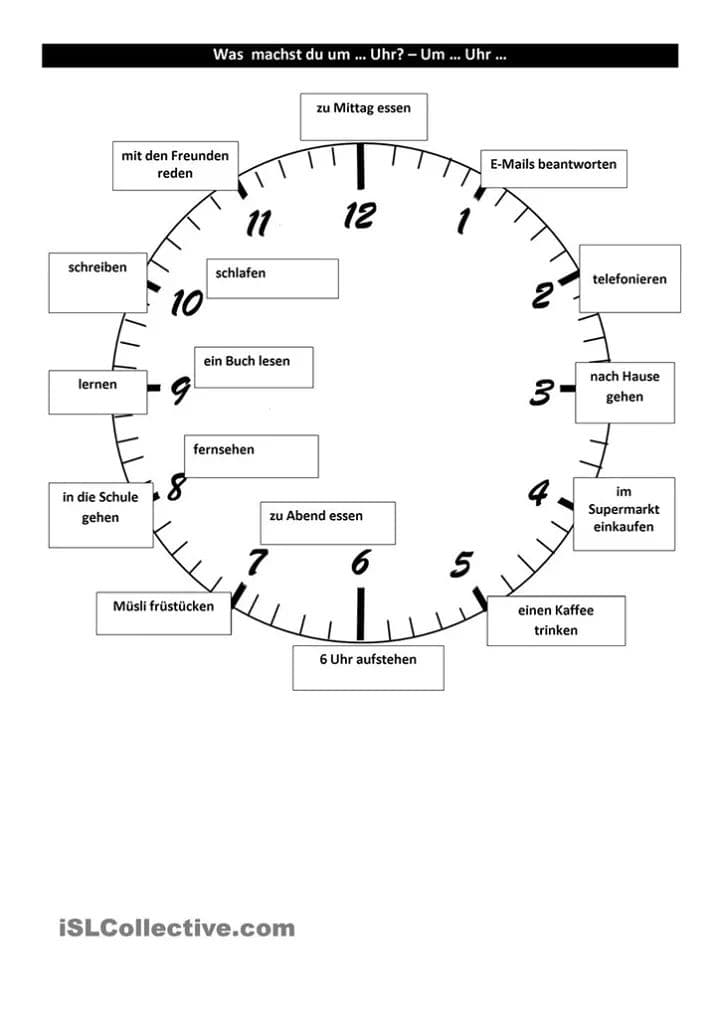 Was machst du um… Uhr? Um… Uhr.
