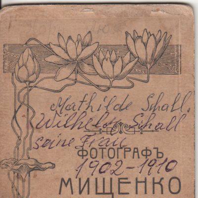Mathilde Schall, Foto Rückseite