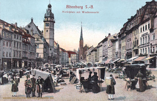 Altenburg S. A., Marktplatz mit Wochenmarkt