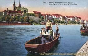 Basel, Rheinpartie mit Münster