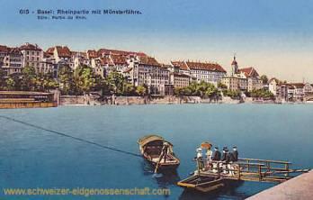 Basel, Rheinpartie mit Münsterfähre