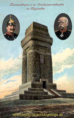 Bismarckturm an der Dreikaiserreichsecke bei Myslowitz
