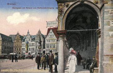 Bremen, Marktplatz mit Roland und Rathaussäulengang