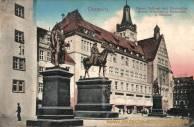Chemnitz, Neues Rathaus und Denkmäler Kaiser Wilhelms I. Bismarcks und Moltkes