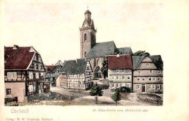 Corbach, St. Kiliankirche vom Marktplatz aus