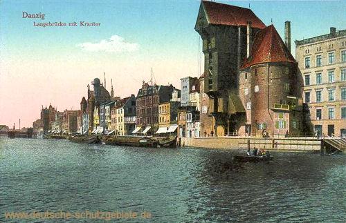 Danzig, Langebrücke mit Krantor
