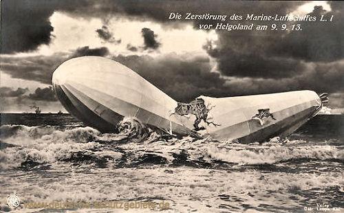 Die Zerstörung des Marine-Luftschiffes L I vor Helgoland am 9.9.1913