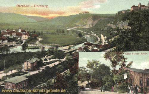 Dornburg, Dorndorf, Hotel blaues Schild