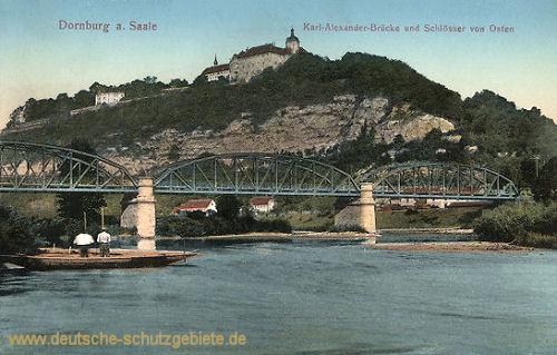 Dornburg, Karl-Alexander-Brücke und Schlösser von Osten