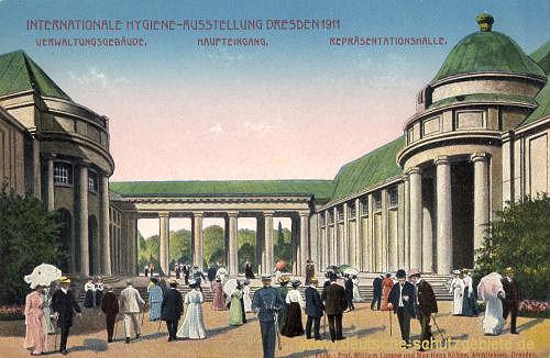 Dresden, Internationale Hygiene-Ausstellung 1911 Verwaltungsgebäude, Haupteingang, Repräsentationsgebäude