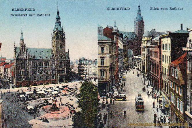 Elberfeld, Neumarkt mit Rathaus - Blick zum Rathaus