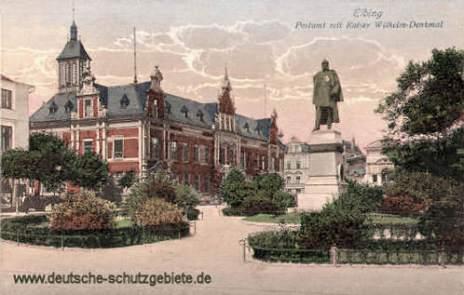 Elbing, Postamt mit Kaiser Wilhelm-Denkmal