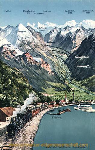 Flüelen, Gotthardbahn, Nordseite