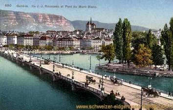 Genève, Ile J.-J. Rousseau et pont du Mont Blanc