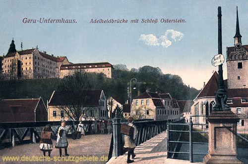 Gera-Untermhaus, Adelheidbrücke mit Schloss Osterstein
