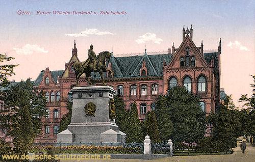 Gera, Kaiser Wilhelm-Denkmal und Zabelschule