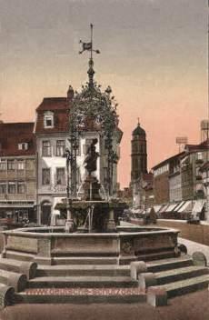 Göttingen, Gänseliesel-Brunnen und Weenderstraße