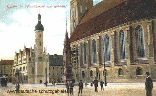 Guben, Hauptkirche und Rathaus