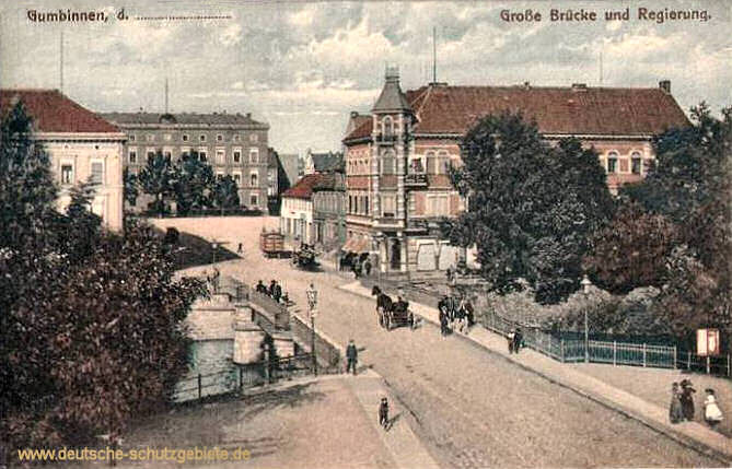 Gumbinnen, Große Brücke und Regierung
