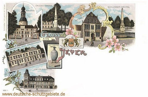 Jever, Kriegerdenkmal, Hotel Hof von Oldenburg, Schlossdenkmal, Concerthaus, Hotel Erbgrossherzog
