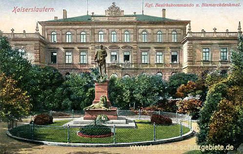 Kaiserslautern, Königliches Bezirkskommando mit Bismarckdenkmal