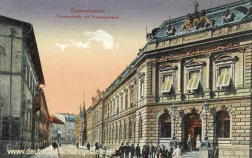 Kaiserslautern, Theaterstraße mit Hauptpostamt