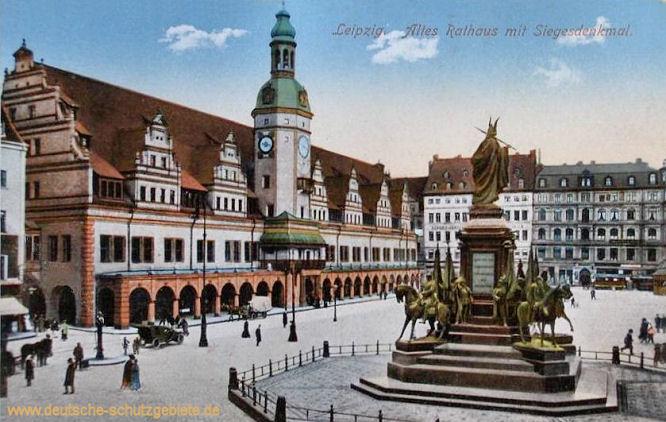 Leipzig, Altes Rathaus mit Siegesdenkmal