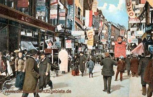 Leipzig, Petersstraße während der Mustermesse