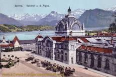 Luzern, Bahnhof und die Alpen