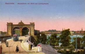 Mannheim, Rheinbrücke mit Blick auf Ludwigshafen