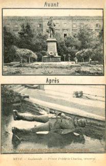 Metz, zerstörtes Denkmal Prinz Friedrich Karl 1918