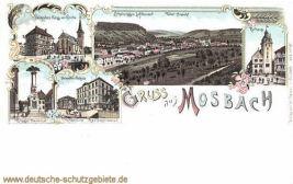 Mosbach, Kriegerdenkmal, Gewerbeschule, Rathaus. Palm'sches Haus