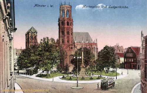 Münster i. W., Marienplatz und Ludgerikirche