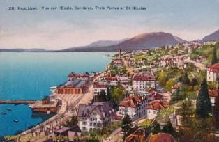 Neuchâtel, Vue sur l'Evole, Serrières, Trois Portes et St. Nicolas