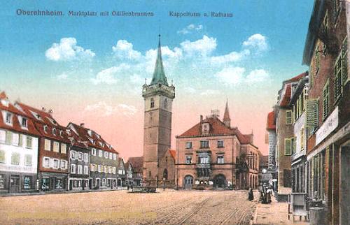 Oberehnheim i. Els., Marktplatz mit Odilienbrunnen Kappelturm und Rathaus