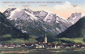 Oberstdorf i. bayr. Allgäu, südlichste Spitze des Deutschen Reichs