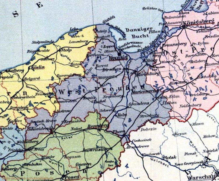 Provinz Westpreußen, Landkarte 1914