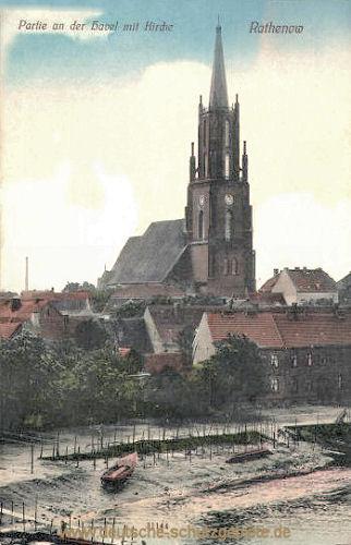 Rathenow, Partie an der Havel mit Kirche