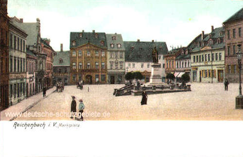Reichenbach i. V., Marktplatz mit Kaiser Wilhelm-Denkmal