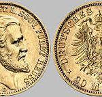Heinrich XXII. ä. L. Fürst Reuß, 20 Mark, 1875
