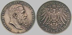 Heinrich XXII. ä. L. Fürst Reuß, 2 Mark, 1901
