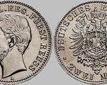 2 Mark, 1884, Heinrich XIV. j.L. reg. Fürst Reuß